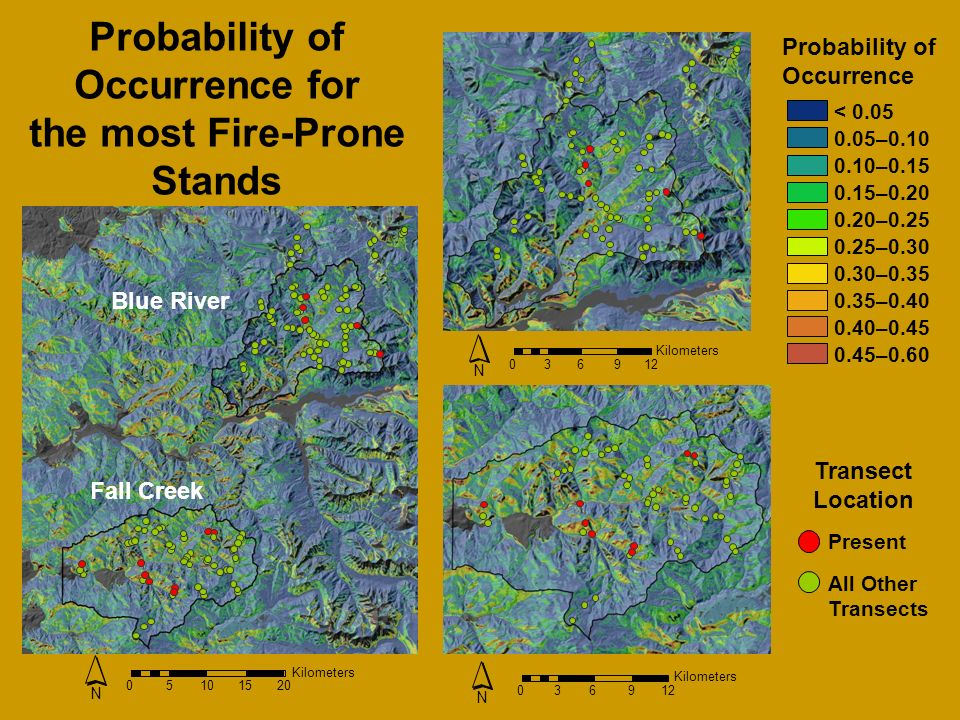 Probability of Occurrence < – – – – – – – – –0.60 Present All Other Transects Transect Location Probability of Occurrence for the most Fire-Prone Stands Kilometers N Blue River Fall Creek Kilometers N Kilometers N