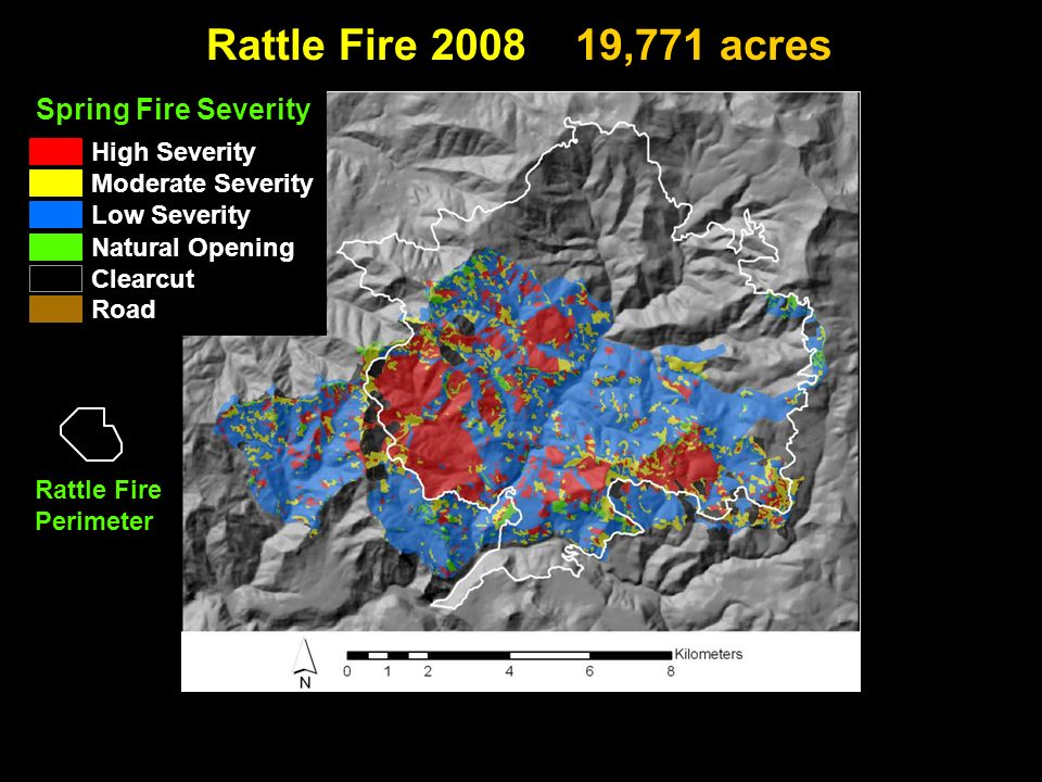 Rattle Fire ,771 acres Clearcut High Severity Low Severity Moderate Severity Natural Opening Road Spring Fire Severity Rattle Fire Perimeter