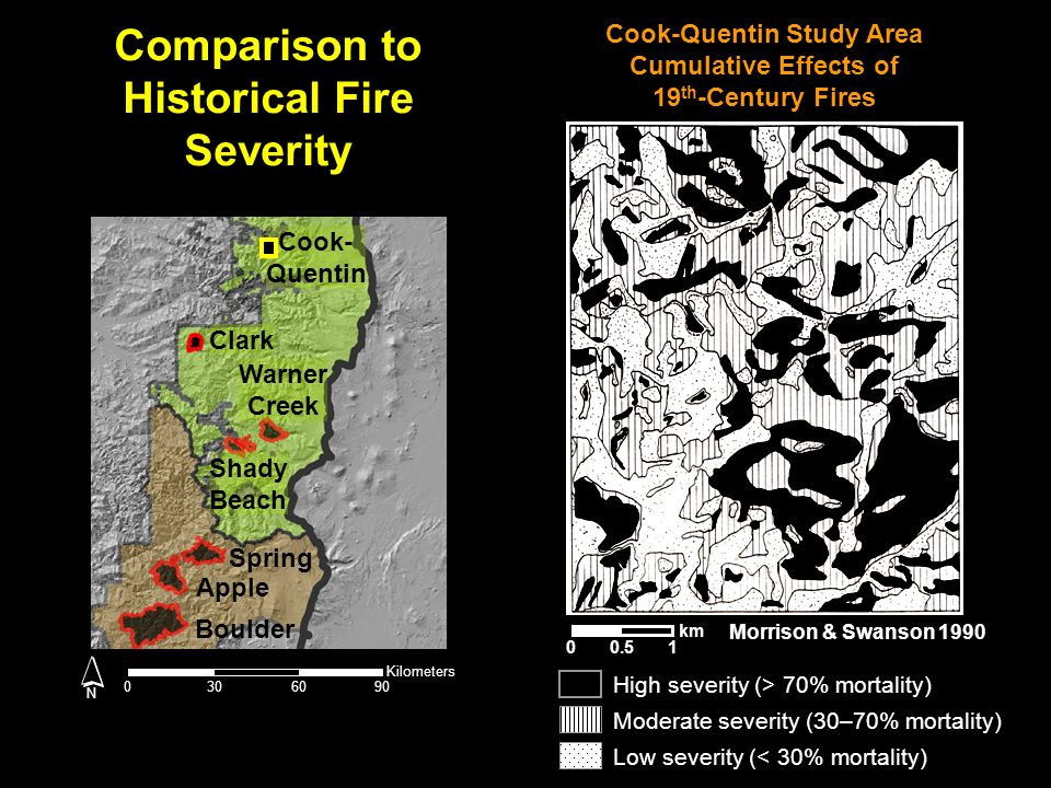 Morrison & Swanson 1990 0.501 km Cook-Quentin Study Area Cumulative Effects of 19 th -Century Fires Low severity (< 30% mortality) High severity (> 70% mortality) Moderate severity (30–70% mortality) Comparison to Historical Fire Severity 03060 Kilometers 90 N Cook- Quentin Clark Warner Creek Shady Beach Spring Apple Boulder