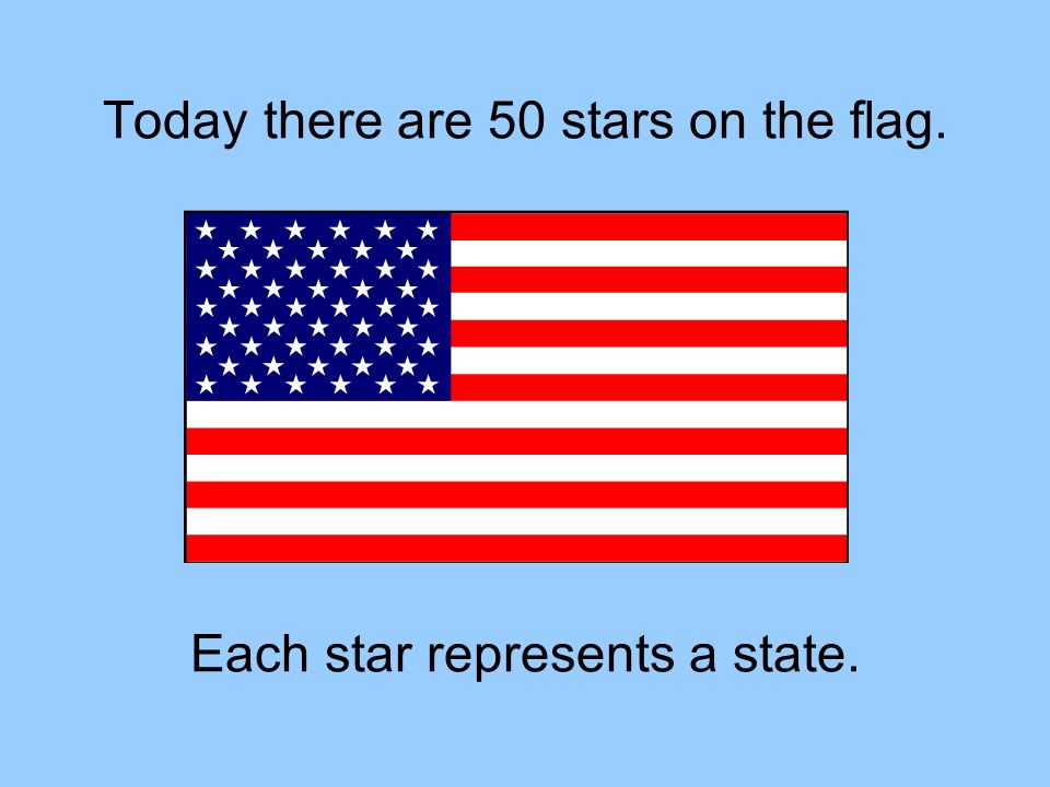 Today there are 50 stars on the flag. Each star represents a state.