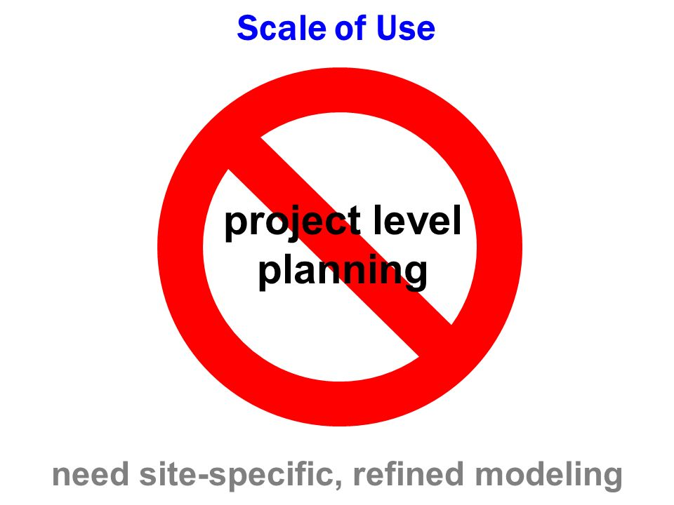 project level planning Scale of Use need site-specific, refined modeling