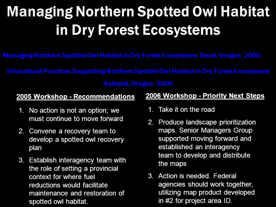 1.No action is not an option; we must continue to move forward 2.Convene a recovery team to develop a spotted owl recovery plan 3.Establish interagency team with the role of setting a provincial context for where fuel reductions would facilitate maintenance and restoration of spotted owl habitat.