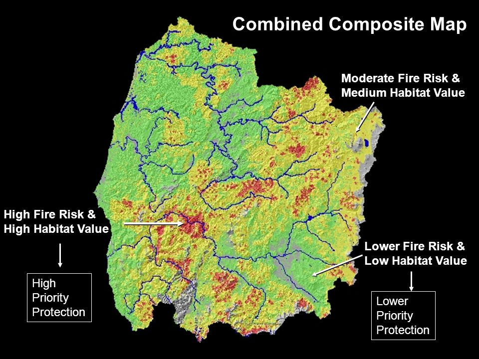 Combined Composite Map High Fire Risk & High Habitat Value Lower Fire Risk & Low Habitat Value Moderate Fire Risk & Medium Habitat Value High Priority Protection Lower Priority Protection