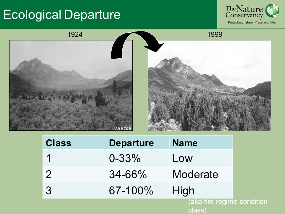 Ecological Departure (aka fire regime condition class) ClassDepartureName 10-33%Low %Moderate %High