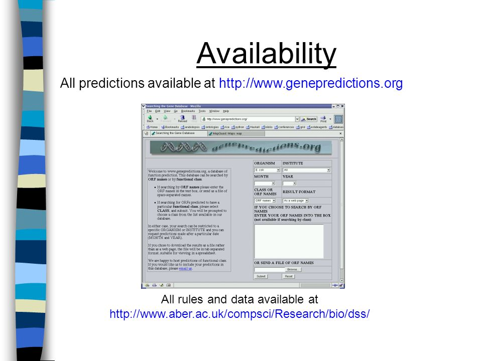 Availability All rules and data available at http://www.aber.ac.uk/compsci/Research/bio/dss/ All predictions available at http://www.genepredictions.org