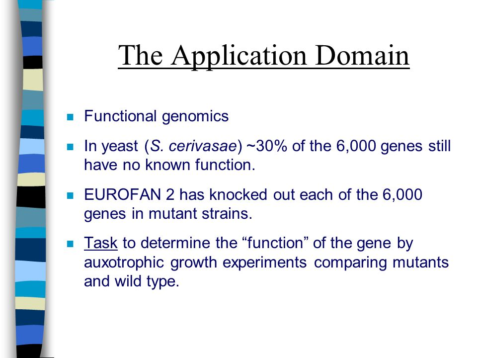 The Application Domain n Functional genomics n In yeast (S. cerivasae) ~30% of the 6,000 genes still have no known function. n EUROFAN 2 has knocked o