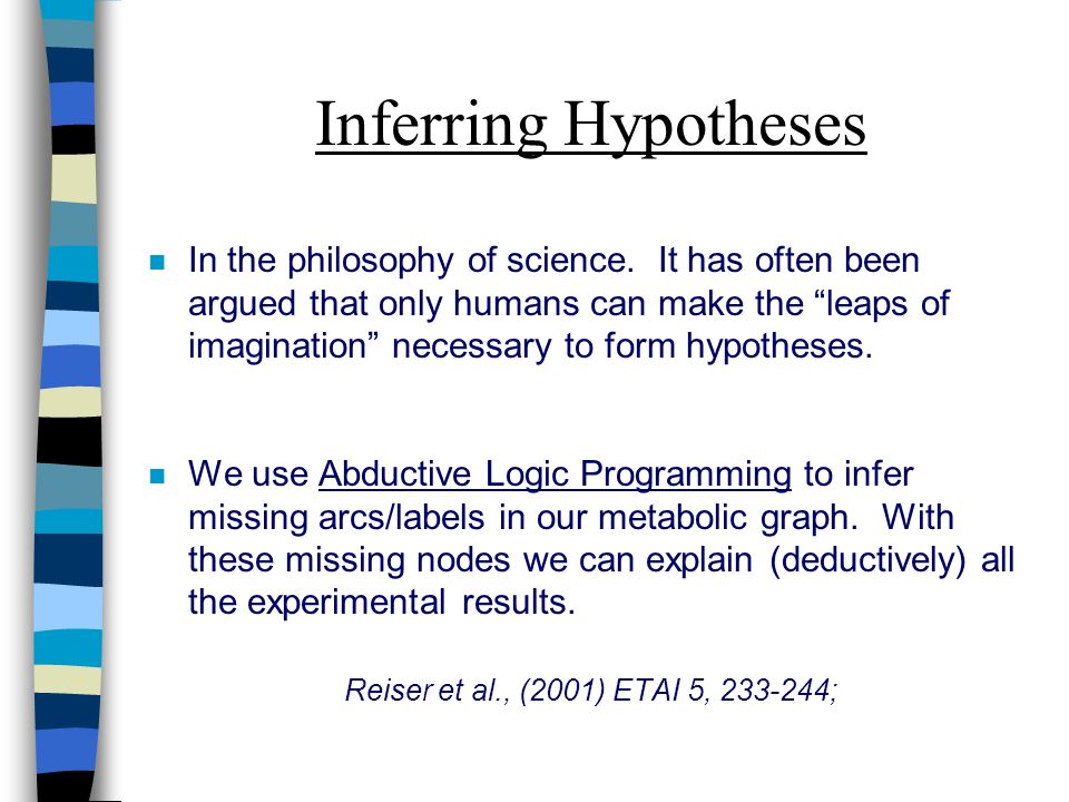 Inferring Hypotheses n In the philosophy of science.