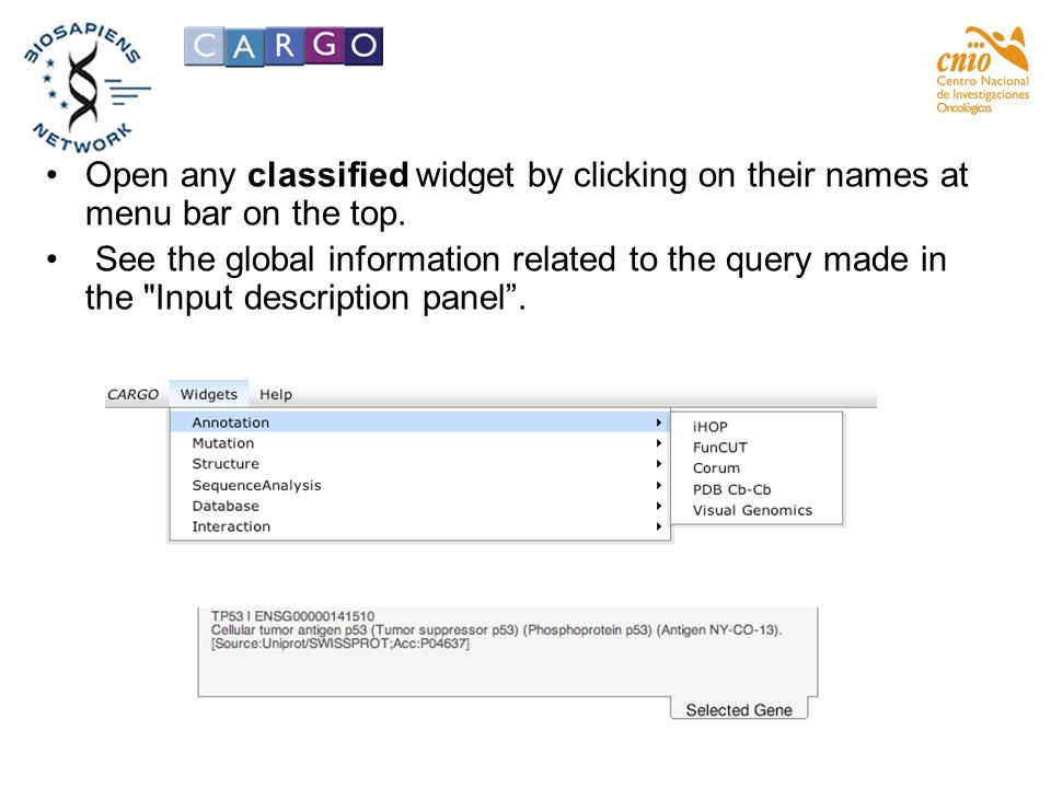 Open any classified widget by clicking on their names at menu bar on the top. See the global information related to the query made in the