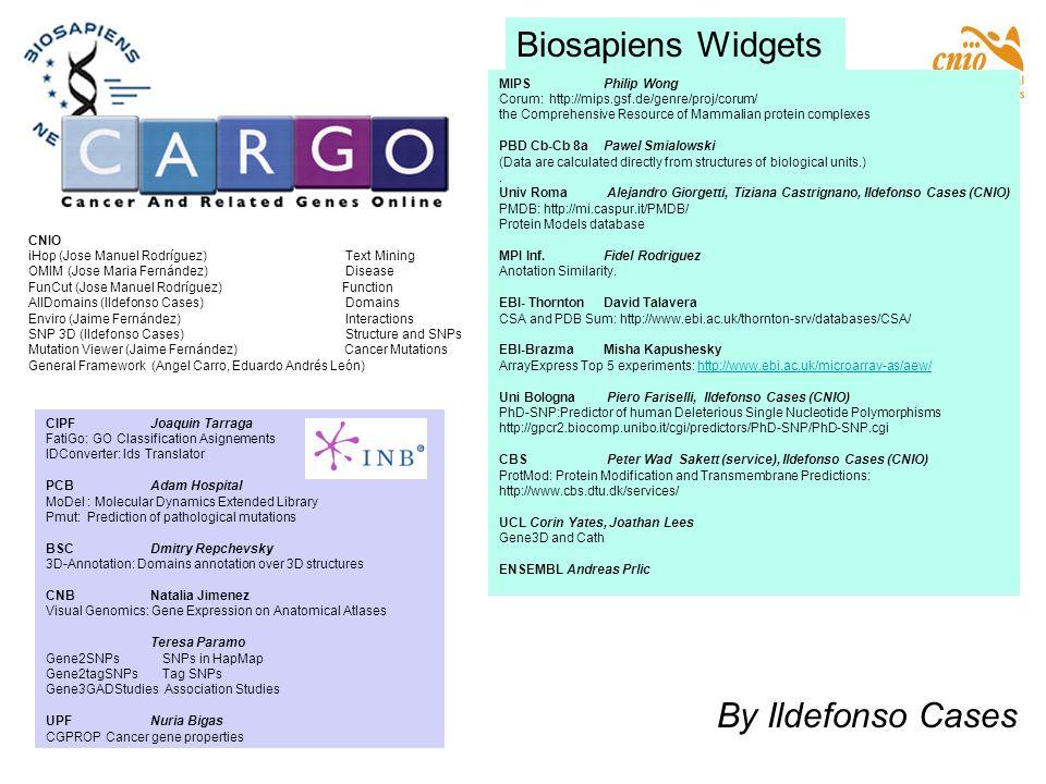 CIPFJoaquin Tarraga FatiGo: GO Classification Asignements IDConverter: Ids Translator PCBAdam Hospital MoDel : Molecular Dynamics Extended Library Pmu