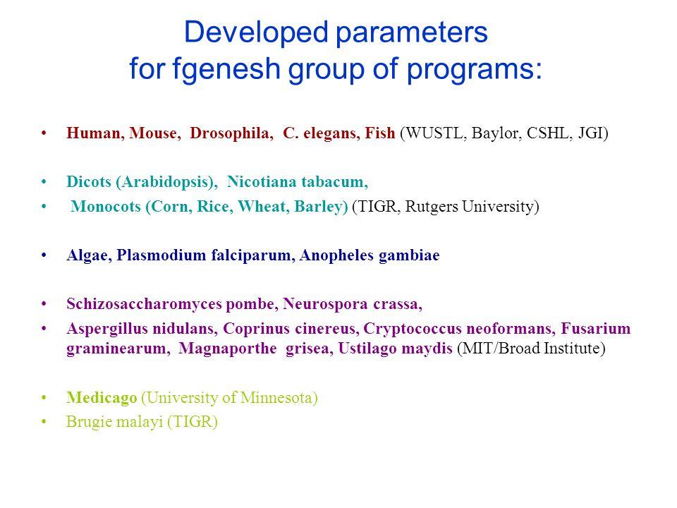 Developed parameters for fgenesh group of programs: Human, Mouse, Drosophila, C. elegans, Fish (WUSTL, Baylor, CSHL, JGI) Dicots (Arabidopsis), Nicoti