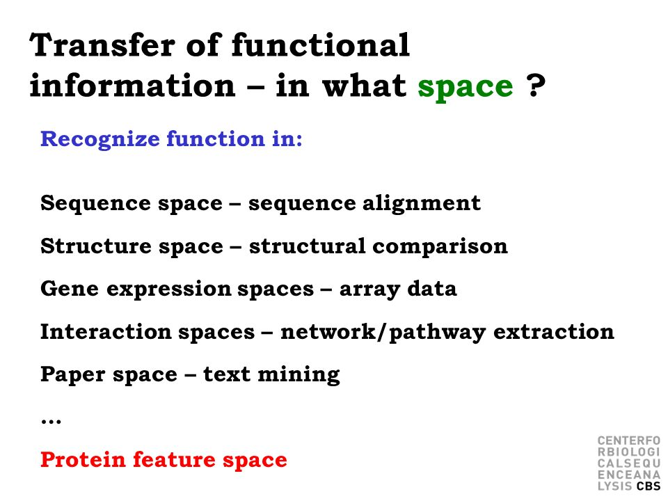 Transfer of functional information – in what space ? Recognize function in: Sequence space – sequence alignment Structure space – structural compariso