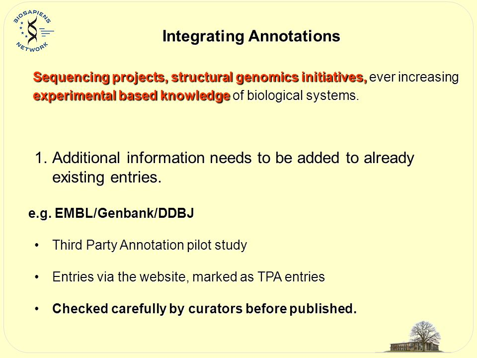 Integrating Annotations Sequencing projects, structural genomics initiatives, ever increasing experimental based knowledge of biological systems.