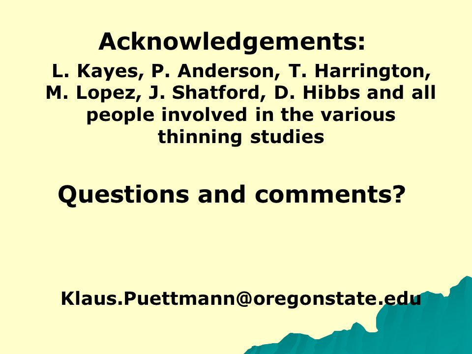 Acknowledgements: L. Kayes, P. Anderson, T. Harrington, M.