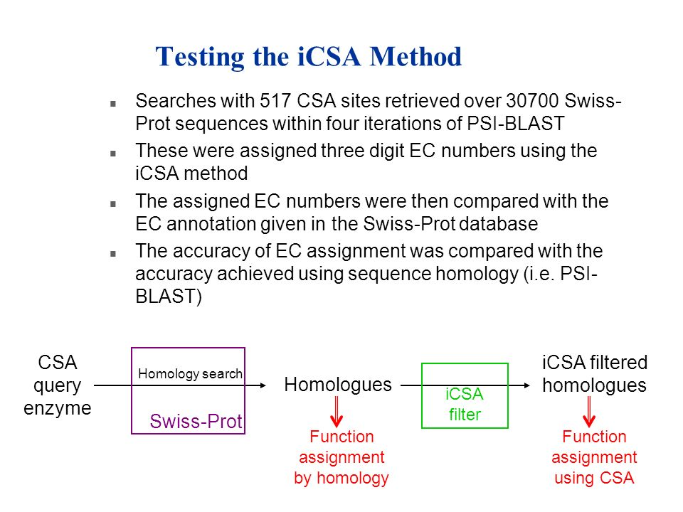 Testing the iCSA Method n Searches with 517 CSA sites retrieved over 30700 Swiss- Prot sequences within four iterations of PSI-BLAST n These were assi