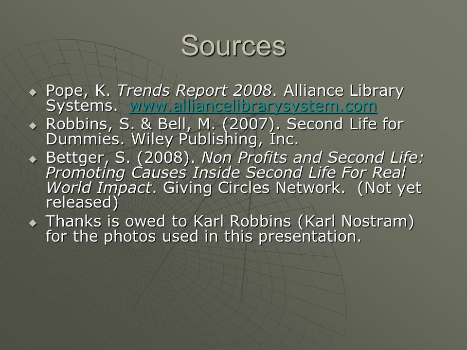 Sources Pope, K. Trends Report 2008. Alliance Library Systems.