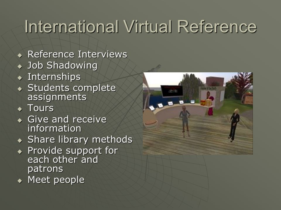 International Virtual Reference Reference Interviews Reference Interviews Job Shadowing Job Shadowing Internships Internships Students complete assignments Students complete assignments Tours Tours Give and receive information Give and receive information Share library methods Share library methods Provide support for each other and patrons Provide support for each other and patrons Meet people Meet people