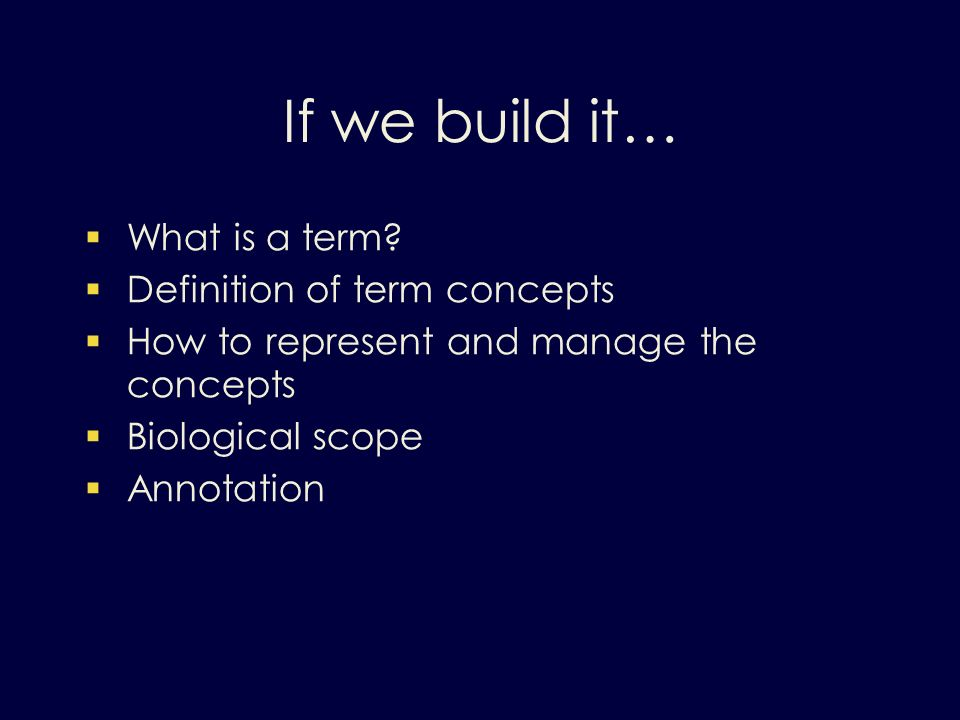 If we build it… What is a term.