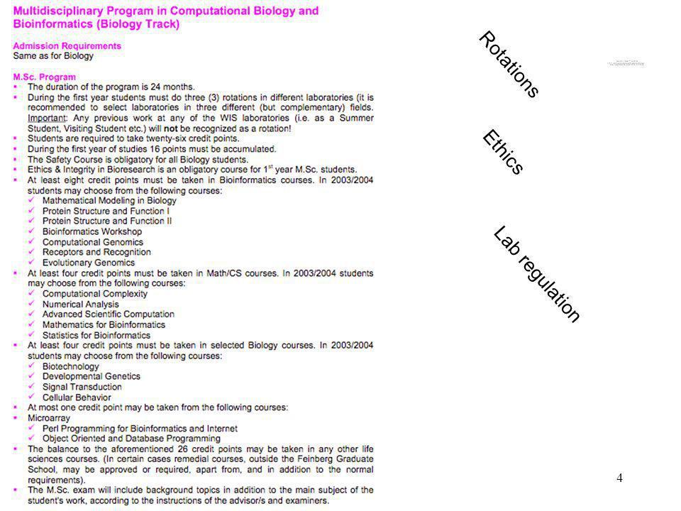 4 Multidisciplinary Program Rotations Ethics Lab regulation