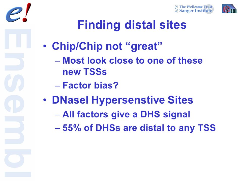 Finding distal sites Chip/Chip not great –Most look close to one of these new TSSs –Factor bias.