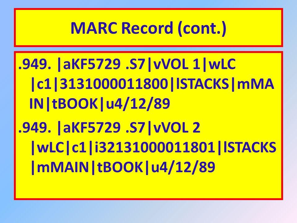 MARC Record (cont.).300. |a2 v.|c25 cm..490. 0 |aPraeger special studies in U.S.