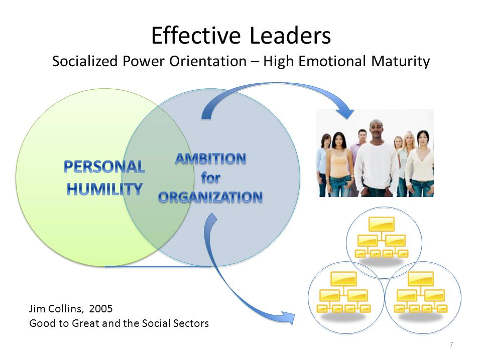 Effective Leaders Socialized Power Orientation – High Emotional Maturity Jim Collins, 2005 Good to Great and the Social Sectors 7