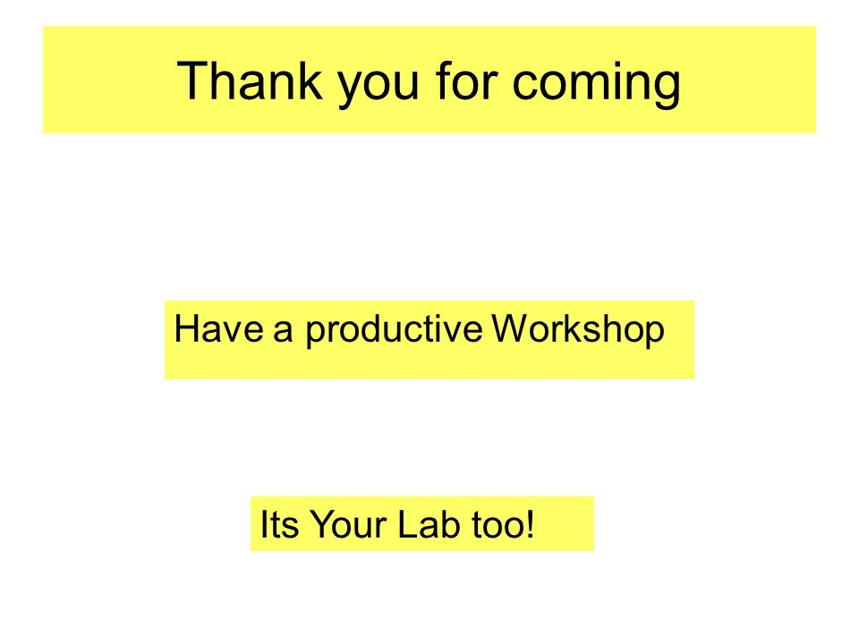 Thank you for coming Have a productive Workshop Its Your Lab too!
