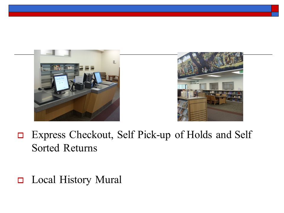 Express Checkout, Self Pick-up of Holds and Self Sorted Returns Local History Mural