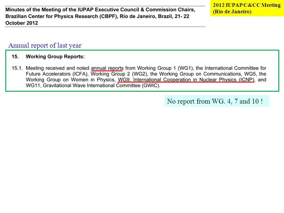 2012 IUPAP C&CC Meeting (Rio de Janeiro) No report from WG.