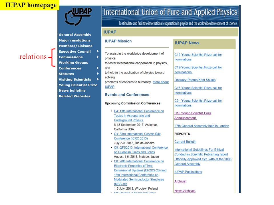 IUPAP homepage relations
