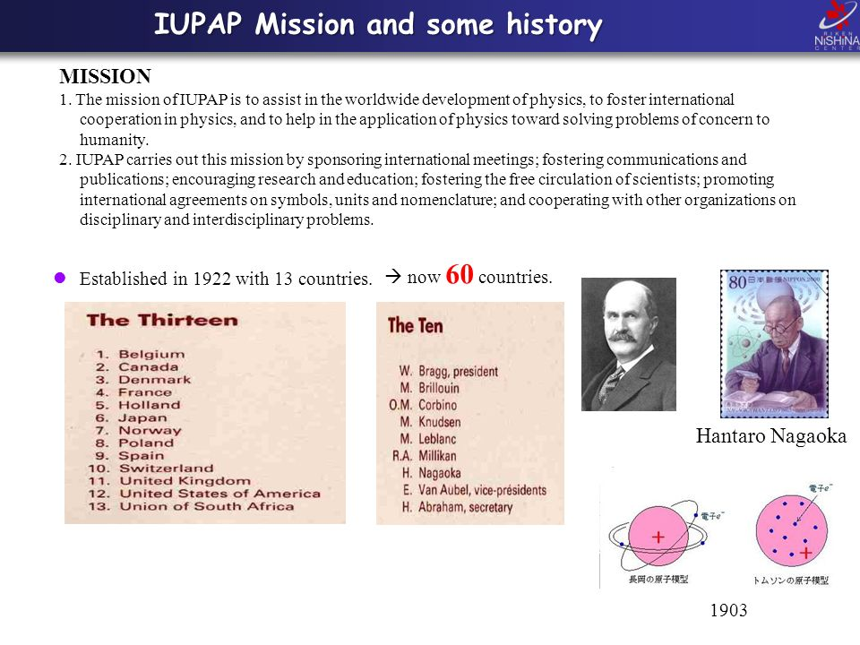 IUPAP Mission and some history Established in 1922 with 13 countries.