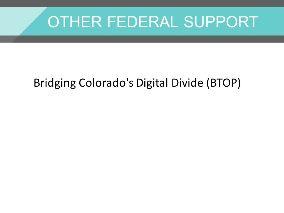 OTHER FEDERAL SUPPORT Bridging Colorado s Digital Divide (BTOP)