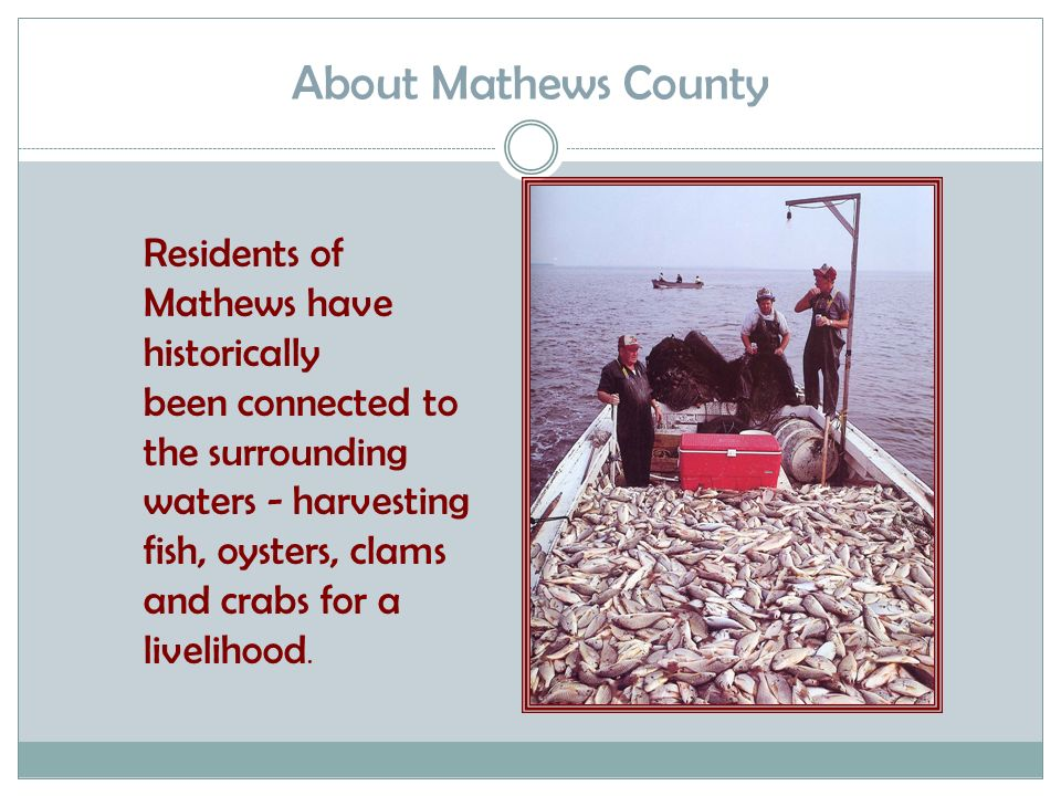 About Mathews County Residents of Mathews have historically been connected to the surrounding waters - harvesting fish, oysters, clams and crabs for a livelihood.