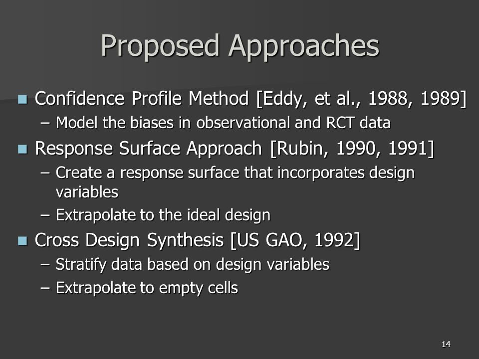 14 Proposed Approaches Confidence Profile Method [Eddy, et al., 1988, 1989] Confidence Profile Method [Eddy, et al., 1988, 1989] –Model the biases in