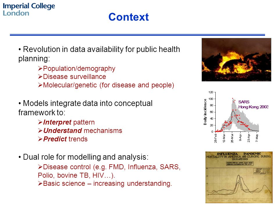 Revolution in data availability for public health planning: Population/demography Disease surveillance Molecular/genetic (for disease and people) Models integrate data into conceptual framework to: Interpret pattern Understand mechanisms Predict trends Dual role for modelling and analysis: Disease control (e.g.