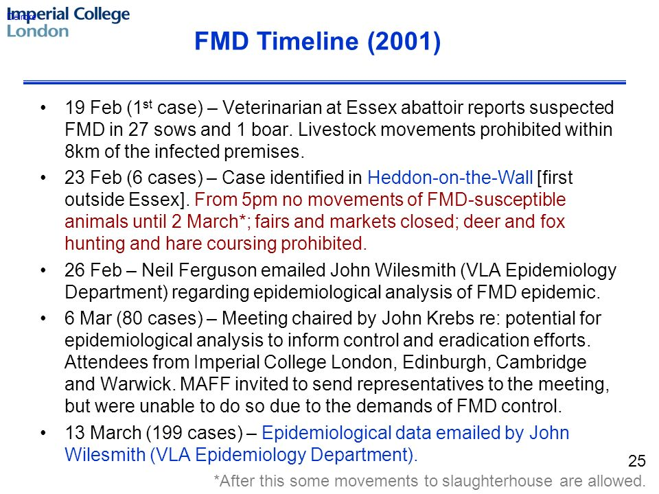 19 Feb (1 st case) – Veterinarian at Essex abattoir reports suspected FMD in 27 sows and 1 boar.