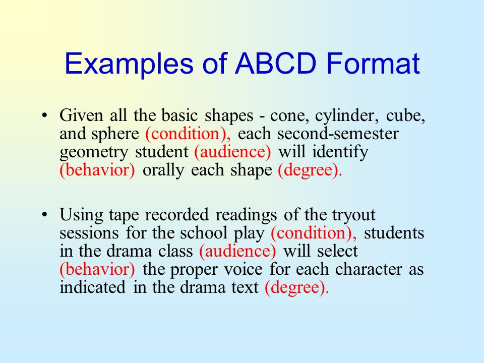 Examples of ABCD Format Given all the basic shapes - cone, cylinder, cube, and sphere (condition), each second-semester geometry student (audience) wi