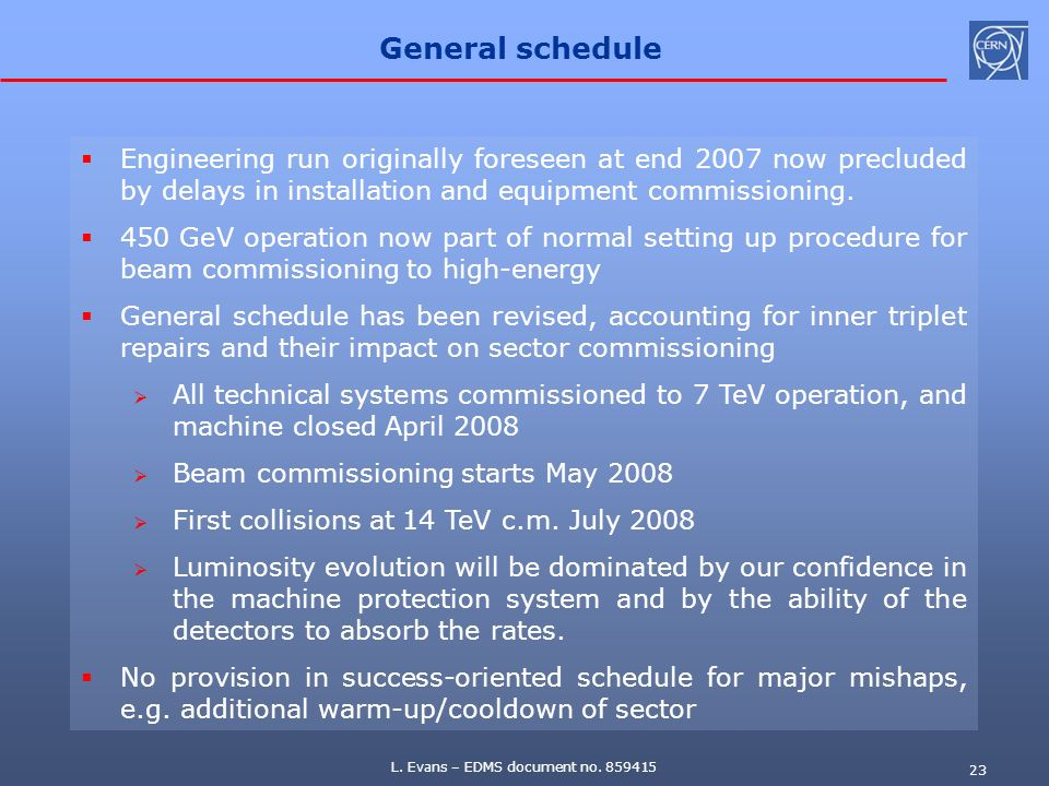 L. Evans – EDMS document no. 859415 23 General schedule Engineering run originally foreseen at end 2007 now precluded by delays in installation and eq