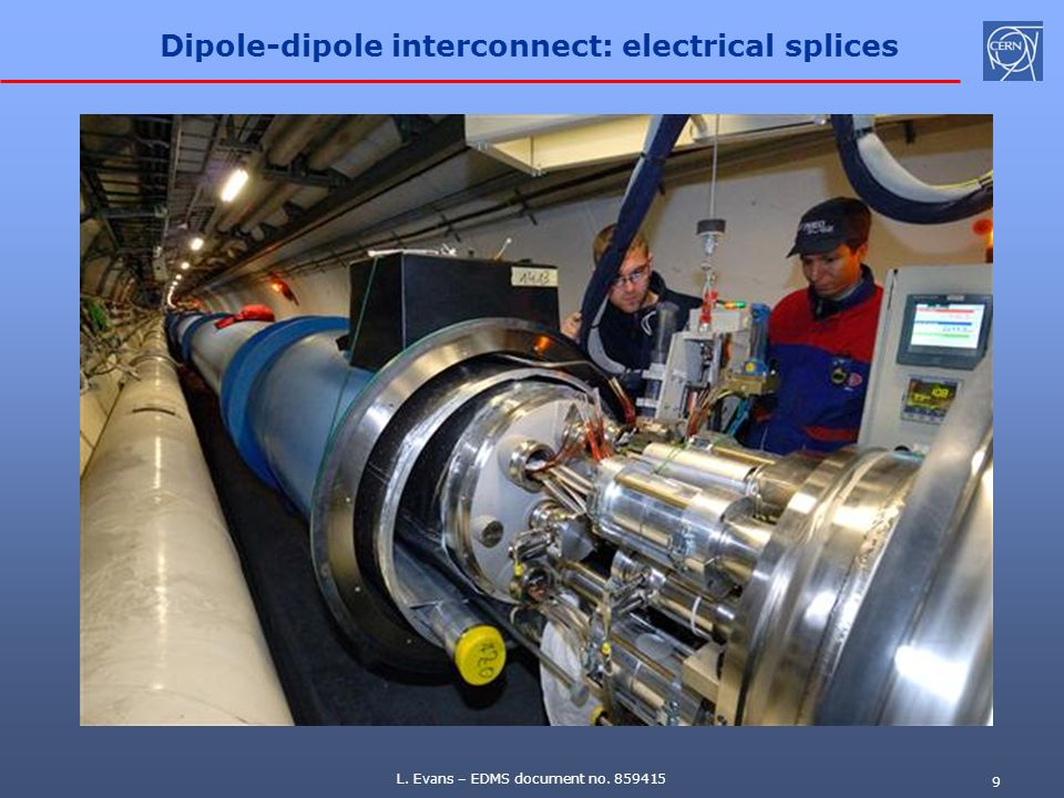 L. Evans – EDMS document no. 859415 9 Dipole-dipole interconnect: electrical splices