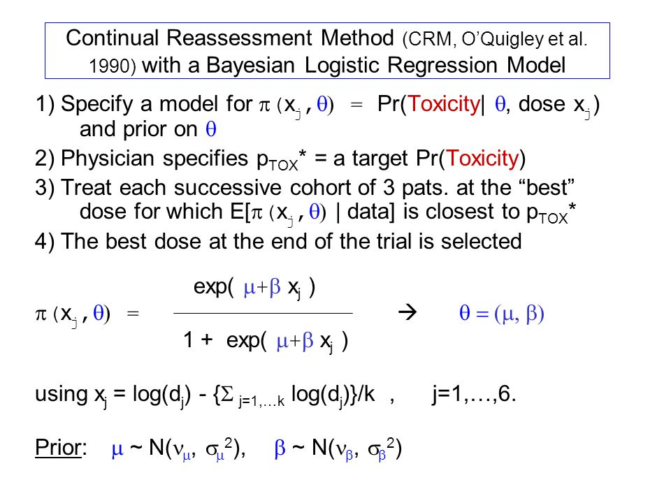 Continual Reassessment Method (CRM, OQuigley et al.