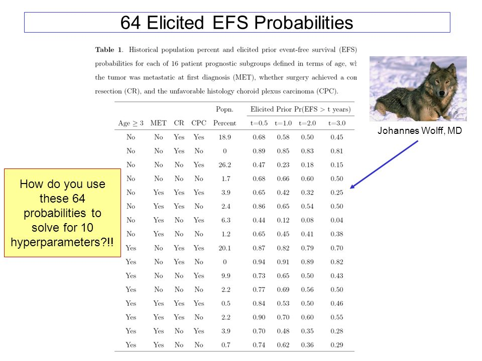 64 Elicited EFS Probabilities How do you use these 64 probabilities to solve for 10 hyperparameters?!.