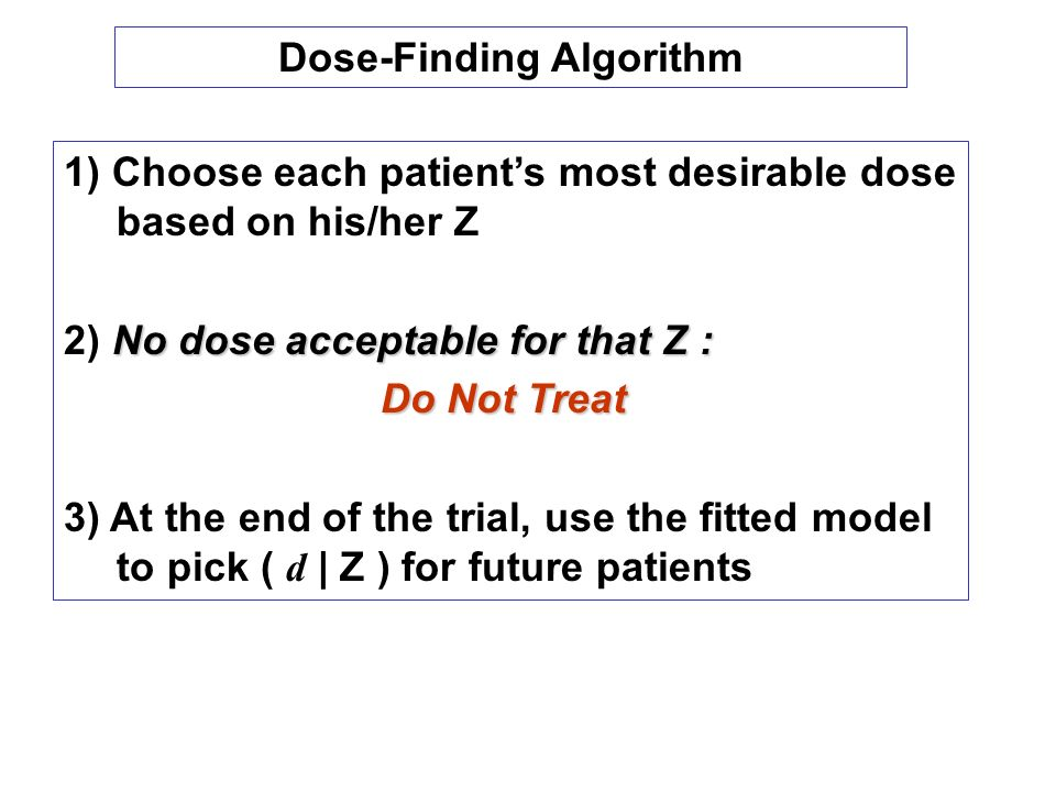 1) Choose each patients most desirable dose based on his/her Z No dose acceptable for that Z : 2) No dose acceptable for that Z : Do Not Treat 3) At the end of the trial, use the fitted model to pick ( d | Z ) for future patients Dose-Finding Algorithm