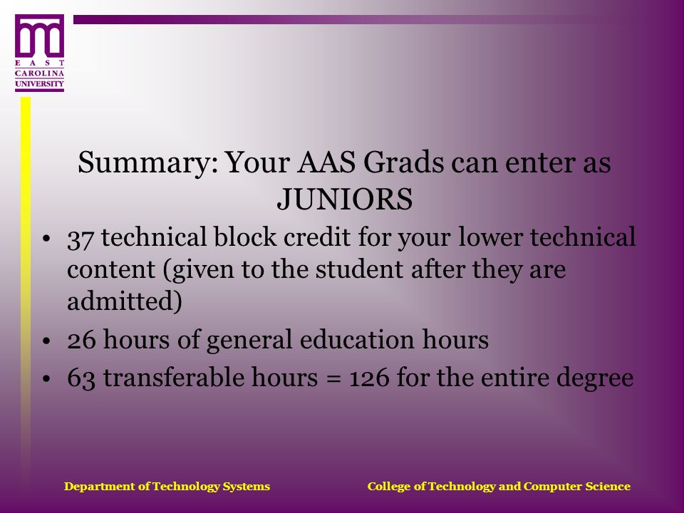 Department of Technology Systems College of Technology and Computer Science Summary: Your AAS Grads can enter as JUNIORS 37 technical block credit for