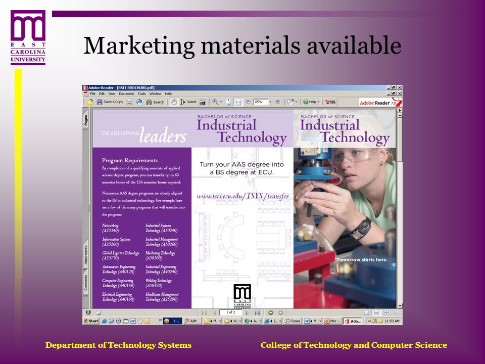 Department of Technology Systems College of Technology and Computer Science Marketing materials available