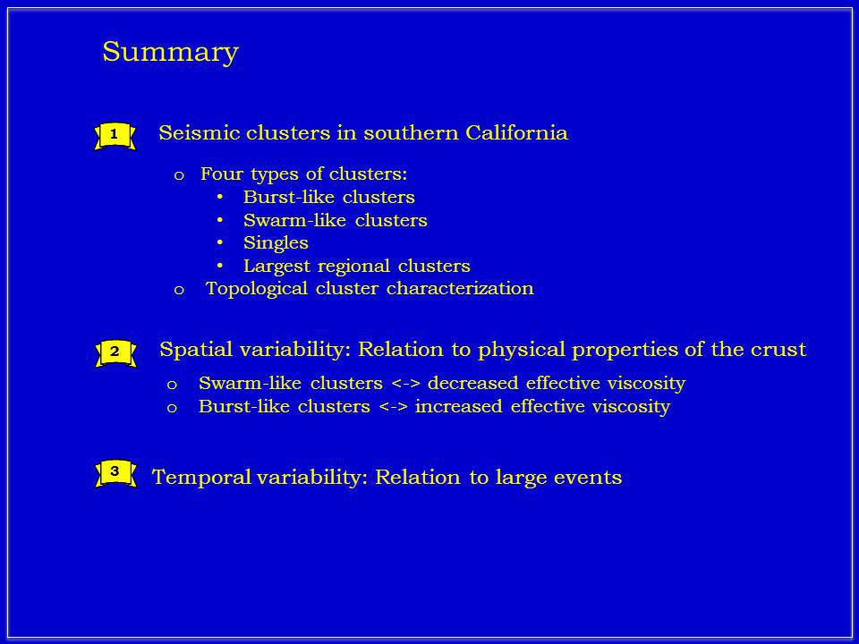 Seismic clusters in southern California 1 2 3 1 2 3 Summary o Four types of clusters: Burst-like clusters Swarm-like clusters Singles Largest regional clusters o Topological cluster characterization o Swarm-like clusters decreased effective viscosity o Burst-like clusters increased effective viscosity Spatial variability: Relation to physical properties of the crust Temporal variability: Relation to large events