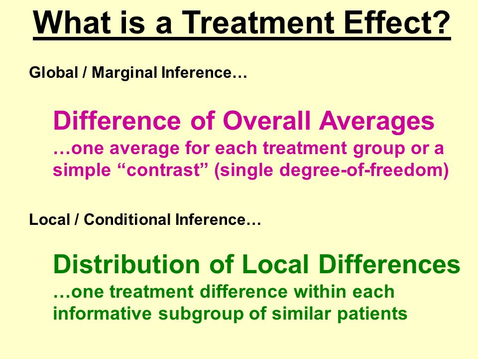 Global / Marginal Inference… Difference of Overall Averages …one average for each treatment group or a simple contrast (single degree-of-freedom) Local / Conditional Inference… Distribution of Local Differences …one treatment difference within each informative subgroup of similar patients What is a Treatment Effect
