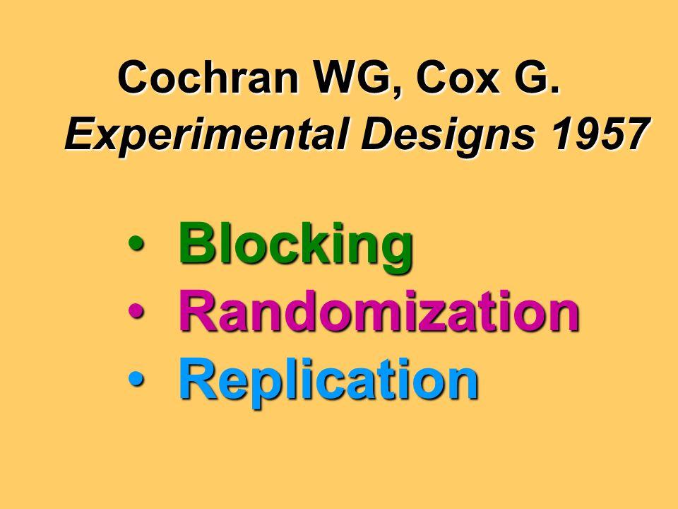 Cochran WG, Cox G.