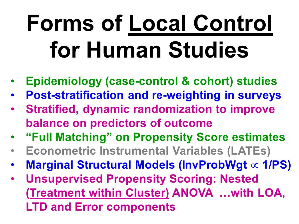 Local Terminology: Subgroups of Patients Subclasses… Strata… Clusters…