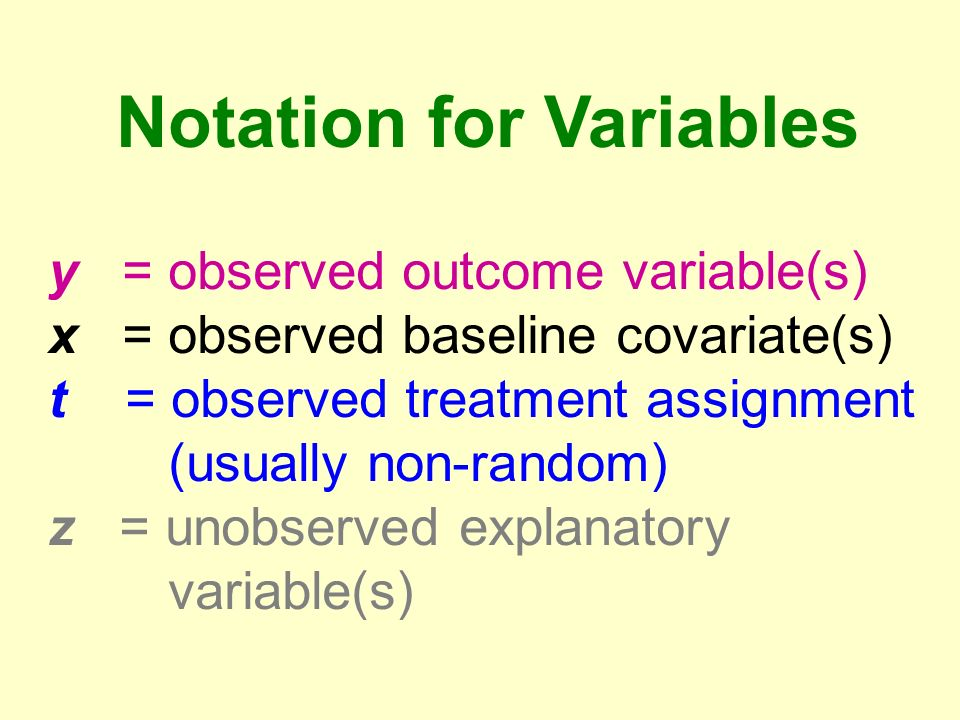 Notation for Variables y = observed outcome variable(s) x = observed baseline covariate(s) t = observed treatment assignment (usually non-random) z = unobserved explanatory variable(s)