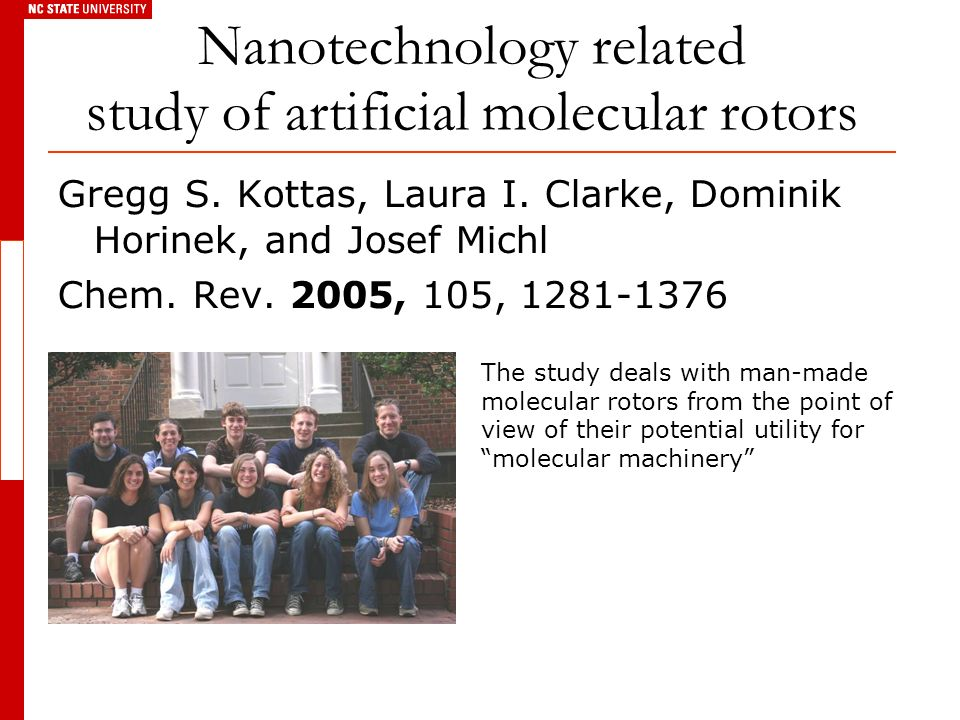 Gregg S. Kottas, Laura I. Clarke, Dominik Horinek, and Josef Michl Chem. Rev. 2005, 105, 1281-1376 Nanotechnology related study of artificial molecula