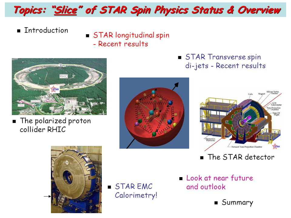 n Introduction n STAR longitudinal spin - Recent results n The polarized proton collider RHIC n The STAR detector Topics: Slice of STAR Spin Physics Status & Overview n STAR Transverse spin di-jets - Recent results n STAR EMC Calorimetry.